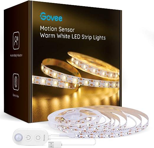 Govee Motion Sensor Led Light Strip, 9.8ft Under Cabinet Light, Dimmable Warm White LED Strip Light for Kitchen, Bedroom, Bookshelf, Desk Counter, 6 Strips with Connecting Wires