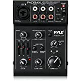 Pyle 3 Channel DJ Controller - USB Mixer Sound Audio Recording Interface with XLR and 3.5 mm Microphone Jack, Line In RCA, Rechargeable Battery, Mix Monitoring, for Professional/Beginners - PAD15MXU