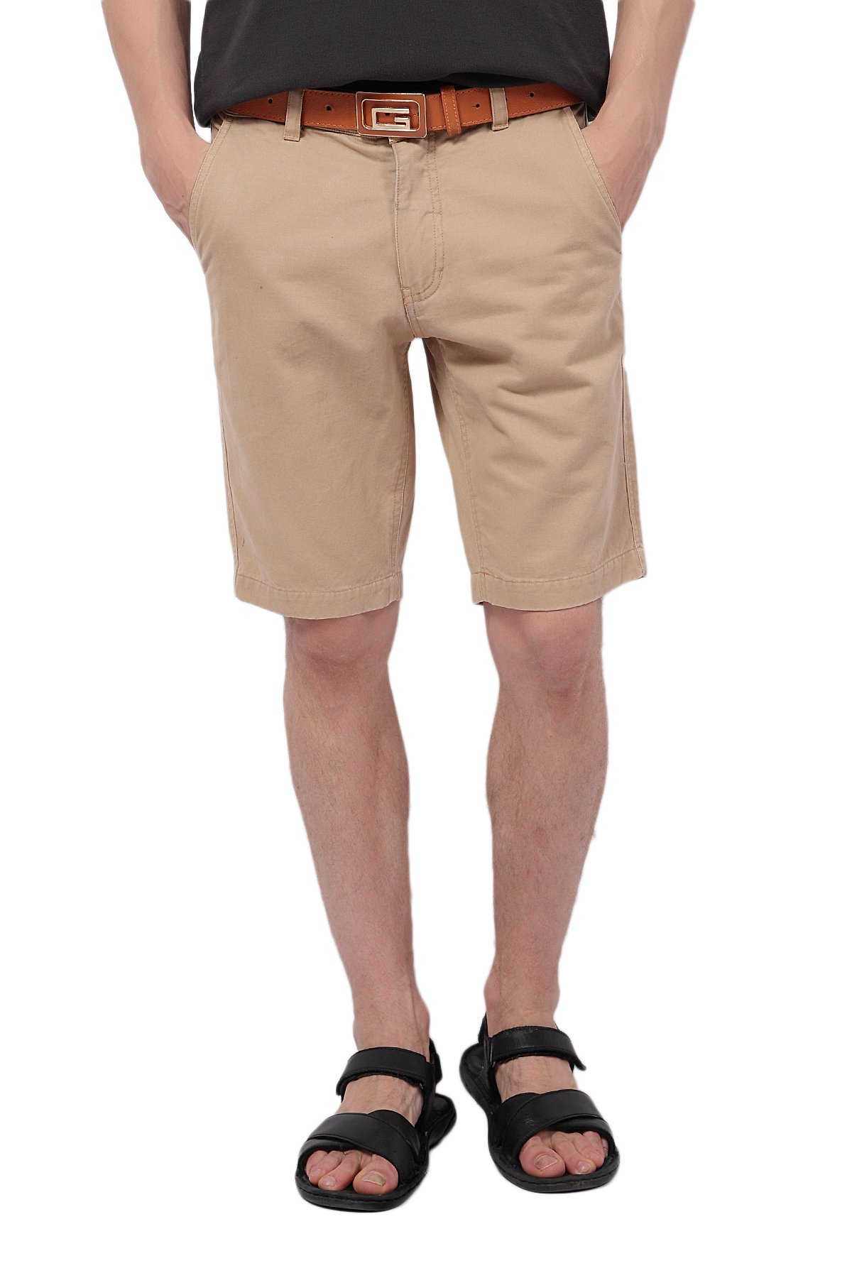 Pau1Hami1ton PH-01 Men's 10'' Inseam Chino Shorts Slim Fit Flat Front Peached Twill Casual Pants(36 Khaki)