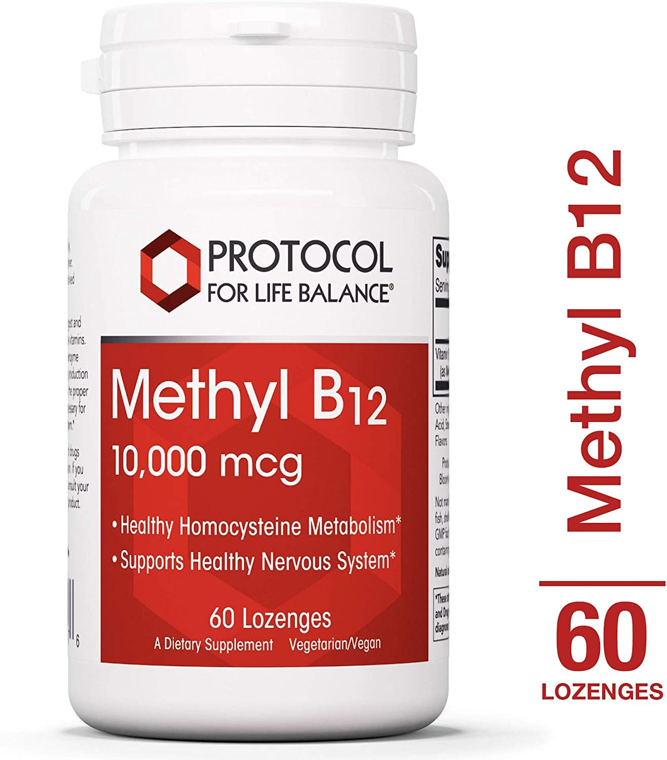 Protocol For Life Balance – Methyl B12 10,000 mcg – Supports Homocysteine Metabolism and Healthy Nervous System, Energy Boost, Cognitive Function, Digestive System – 60 Lozenges