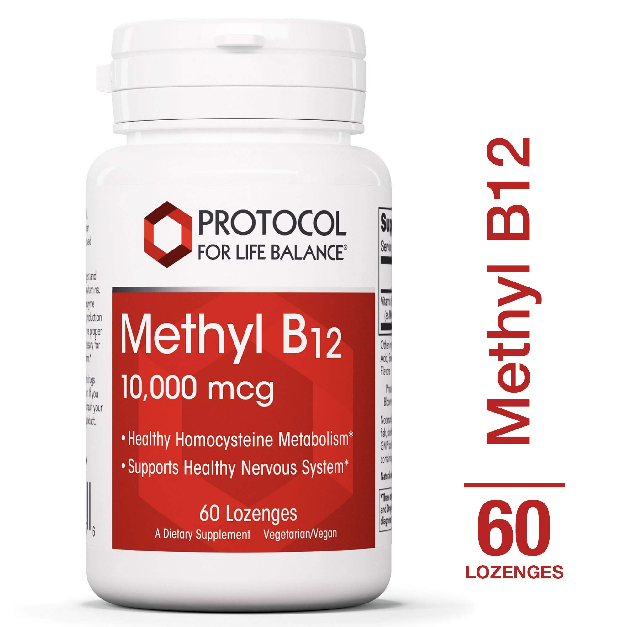 Protocol For Life Balance - Methyl B12 10,000 mcg - Supports Homocysteine Metabolism and Healthy Nervous System, Energy Boost, Cognitive Function, & Digestive System - 60 Lozenges