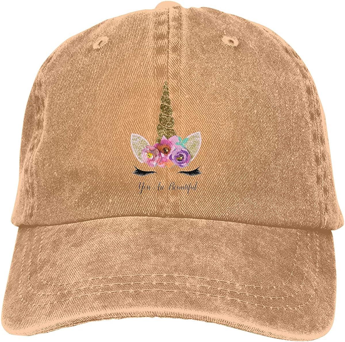 Sakanpo Unicorn Gold Glitter Girly Girls Unisex Cowboy Baseball Caps Trucker Hats Gray