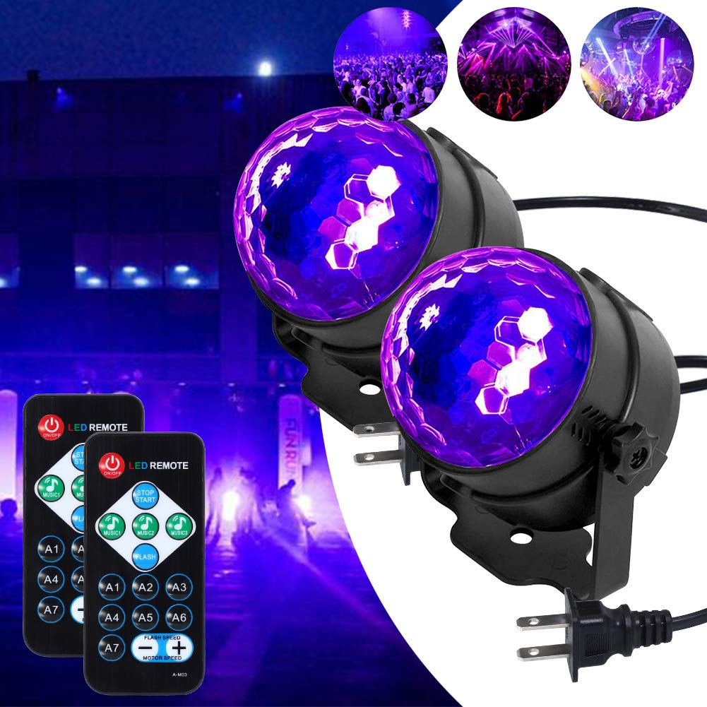 LUNSY UV LED Black Light, 3W Disco Ball Party Lights Sound Activated with Remote Control DJ Lighting, 7 Modes Stage Par Light for Home Room Dance Parties Birthday DJ Bar Xmas and Wedding - (2PACK)