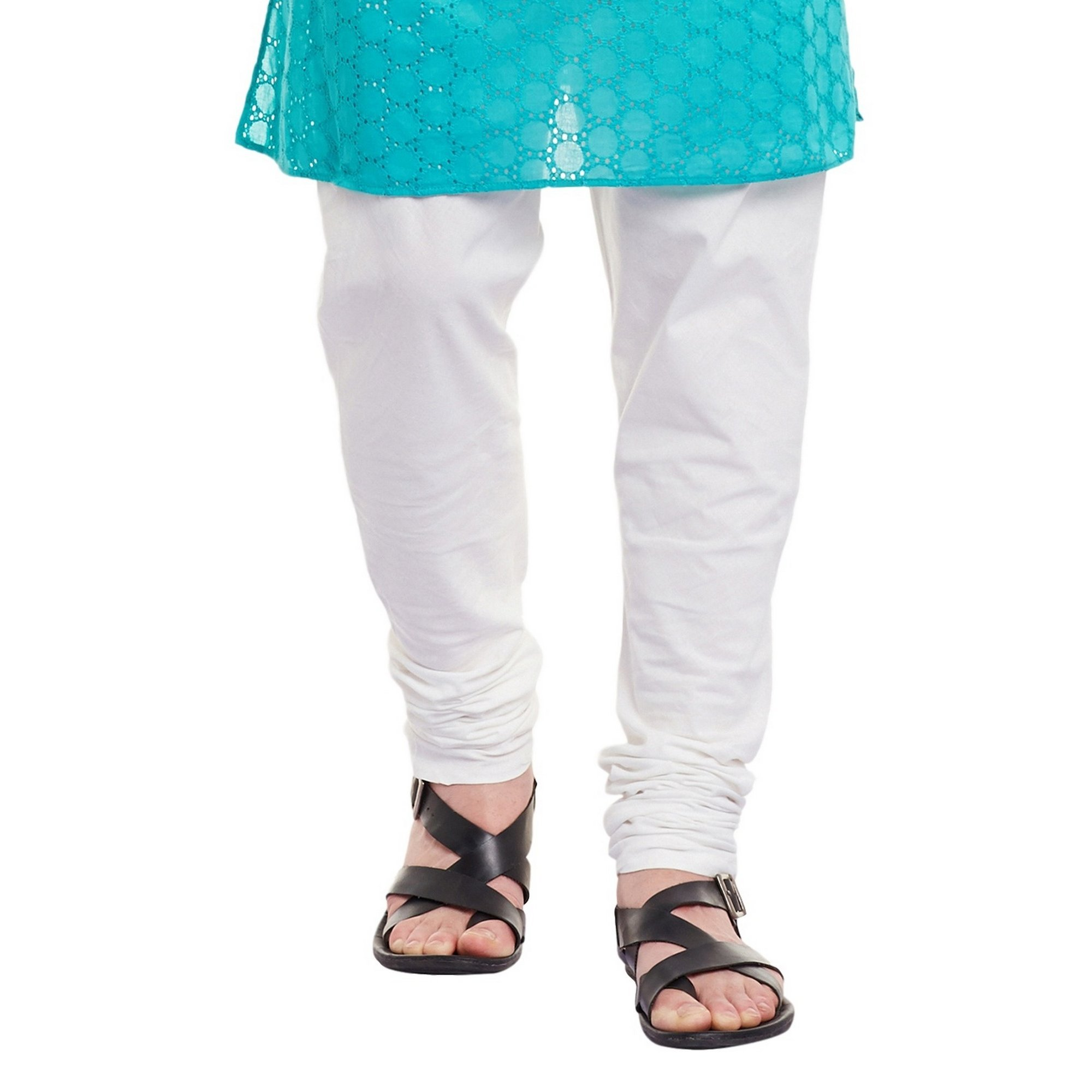 Mens Embroidered Cutwork Cotton Kurta With Churidar Pajama Trousers Machine Embroidery,Turquoise Chest Size: 34 Inch by ShalinIndia (Image #6)