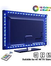 LED TV Retroilluminazione, OMERIL 2.2m Striscia LED RGB USB alimentata Retroilluminazione TV LED con Telecomando, Impermeabile, 16 Colori e 4 Modalità per HDTV da 40-60 Pollici, PC Monitor ecc