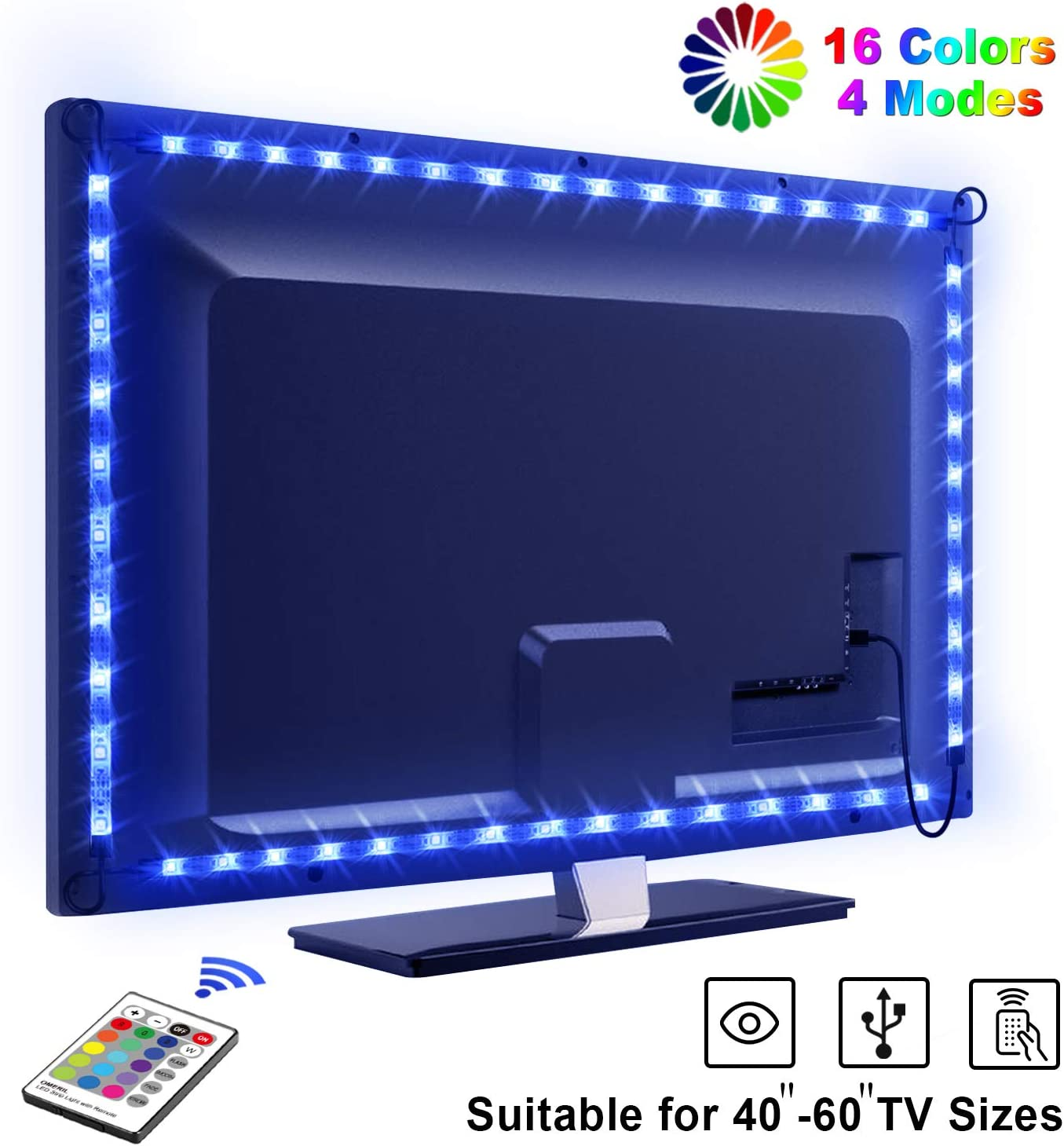 LED TV Retroilluminazione, OMERIL 2.2m Striscia LED RGB USB alimentata Retroilluminazione TV LED con Telecomando, Impermeabile, 16 Colori e 4 Modalit� per HDTV da 40-60 Pollici, PC Monitor ecc