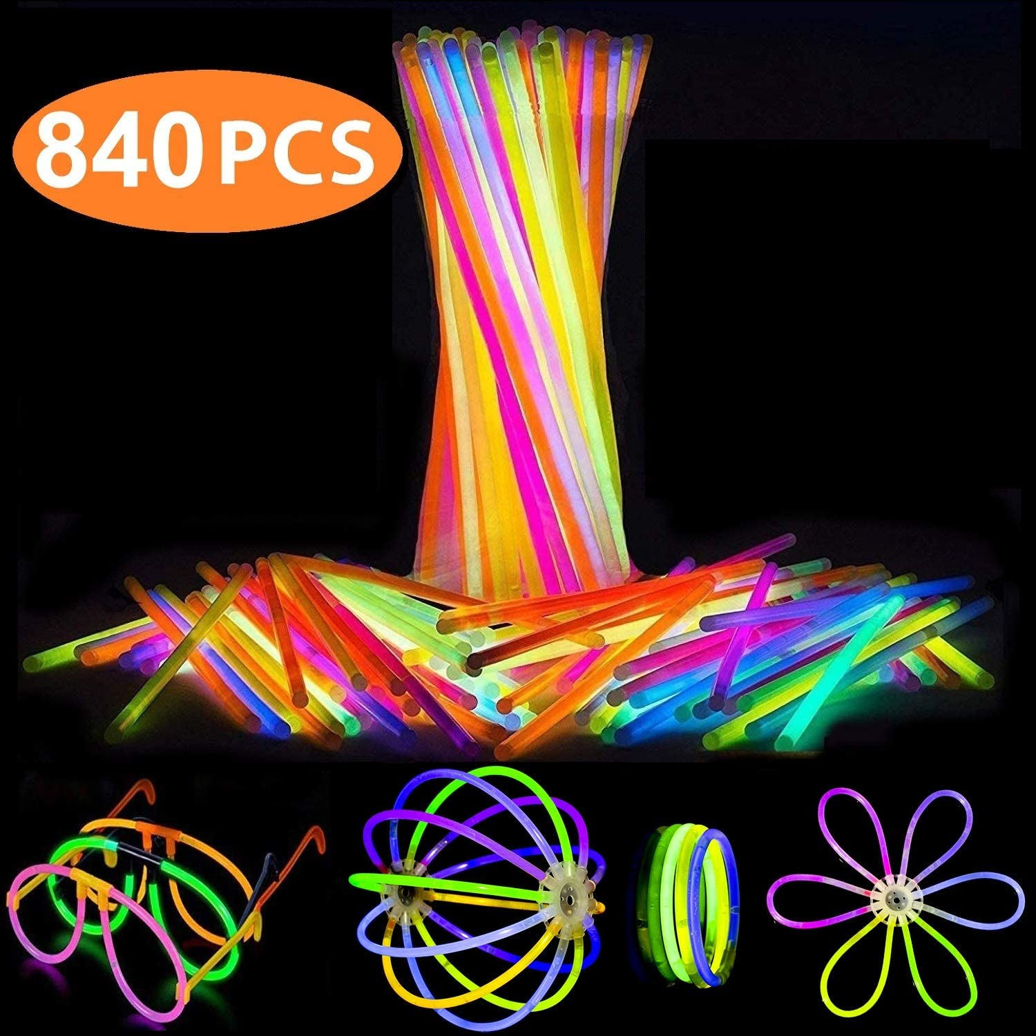 Attikee 840 PCS Glow Sticks Bulk for Glow Party Favors - Toy LED Light Sticks (8 Inch, 7 Colors), 400 PCS Bendable Glow Sticks & 440 PCS Connectors for Eyeglasses, Balls, Flowers, Necklaces, Triple Bracelets, Glow in Dark Non-Toxic Light Sticks for Kids Adults