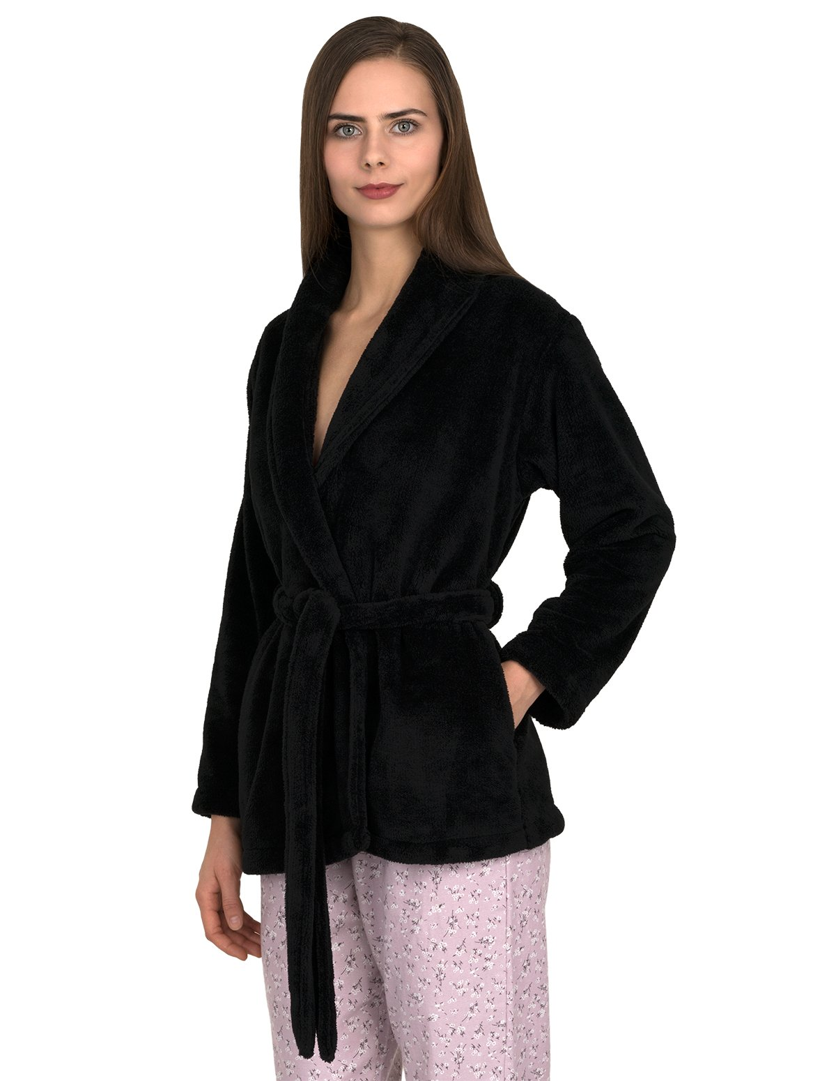 TowelSelections Women's Bed Jacket Fleece Cardigan Cuddly Robe Large/X-Large Phantom Black by TowelSelections