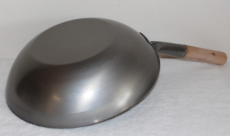 Elektro 30 Induktion und Ceran geeignet Gaskocher AAF Nommel /® 36 cm /Ø Flacher Boden Carbon Stahl f/ür Gasherd Wok Set bestehend aus 2 Wok