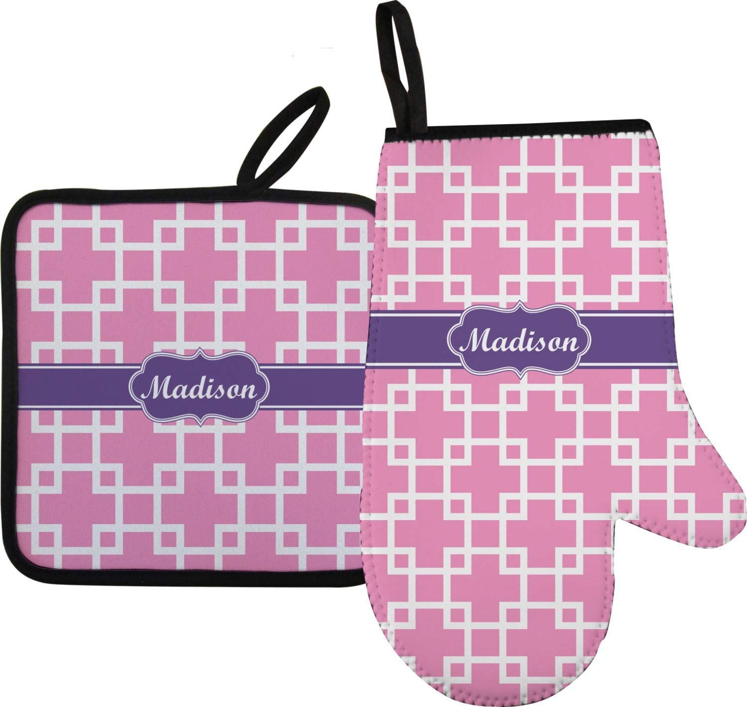YouCustomizeIt Linked Squares Oven Mitt & Pot Holder (Personalized)