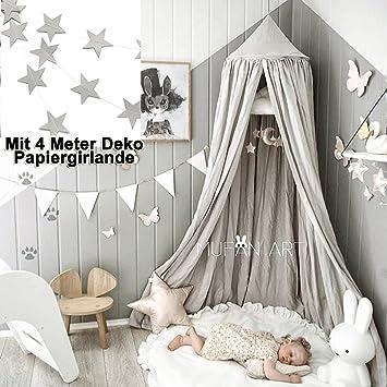 Grau Baldachin, Wenscha Betthimmel Kinder Baby Kinderzimmer Bettvorhang  Baumwolle Deko Moskitonetz Insektenschutz Für Prinzessin Spielzelte