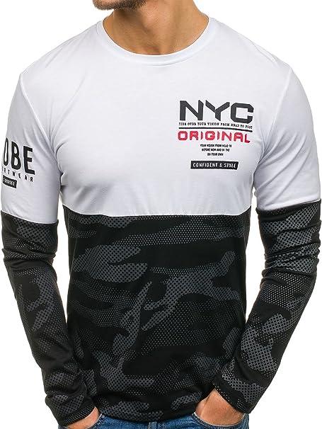 BOLF Hombre Camiseta De Manga Larga Escote Redondo 1A1 Motivo 3me97rJ