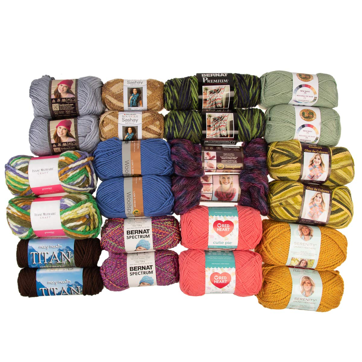 (24 Pack) Assorted Yarn Random Skeins Soft Variety Pack Yarn for Knitting Crocheting Sweaters Scarves