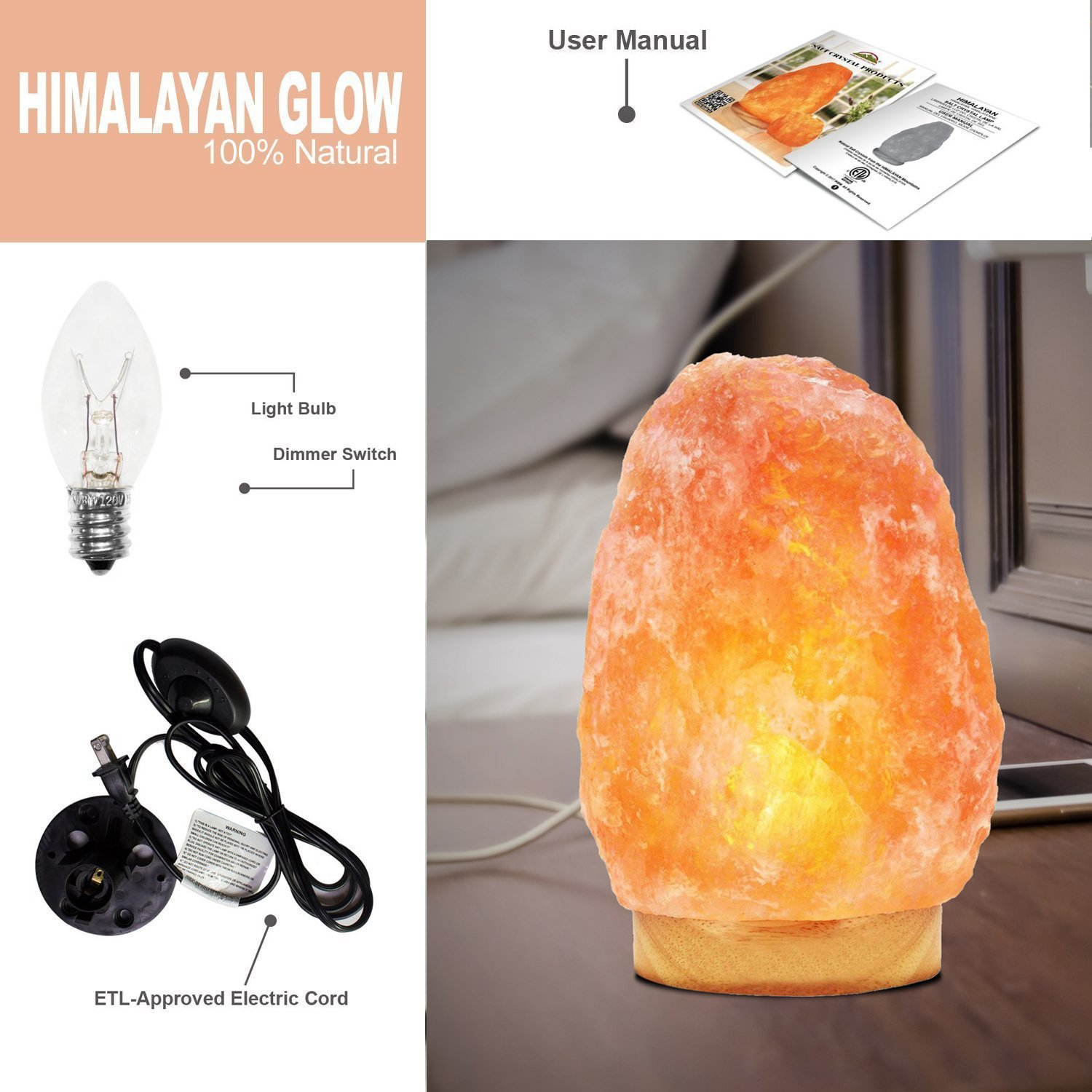 Himalayan Glow Salt Lamp, 1003 Extra large himalayan salt lamp, Dimmable Floor lamp with Neem Wooden base   11 to 15 lbs by WBM by Himalayan Glow (Image #9)