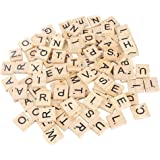 CCINEE 100 Pieces Wooden Letters Wooden Tiles for Wooden Craft