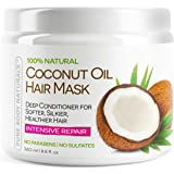 Pure Body Naturals Sulfate-Free Organic Coconut Oil Hair Treatment Mask, 8.8 Oz