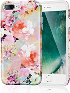 iPhone 8 Plus Case for Girls Women, Clear Bumper Glossy TPU Soft Rubber Silicone Cover Phone Case [Support Wireless Charging] for iPhone 7 Plus/iPhone 8 Plus (Bloom Flower)