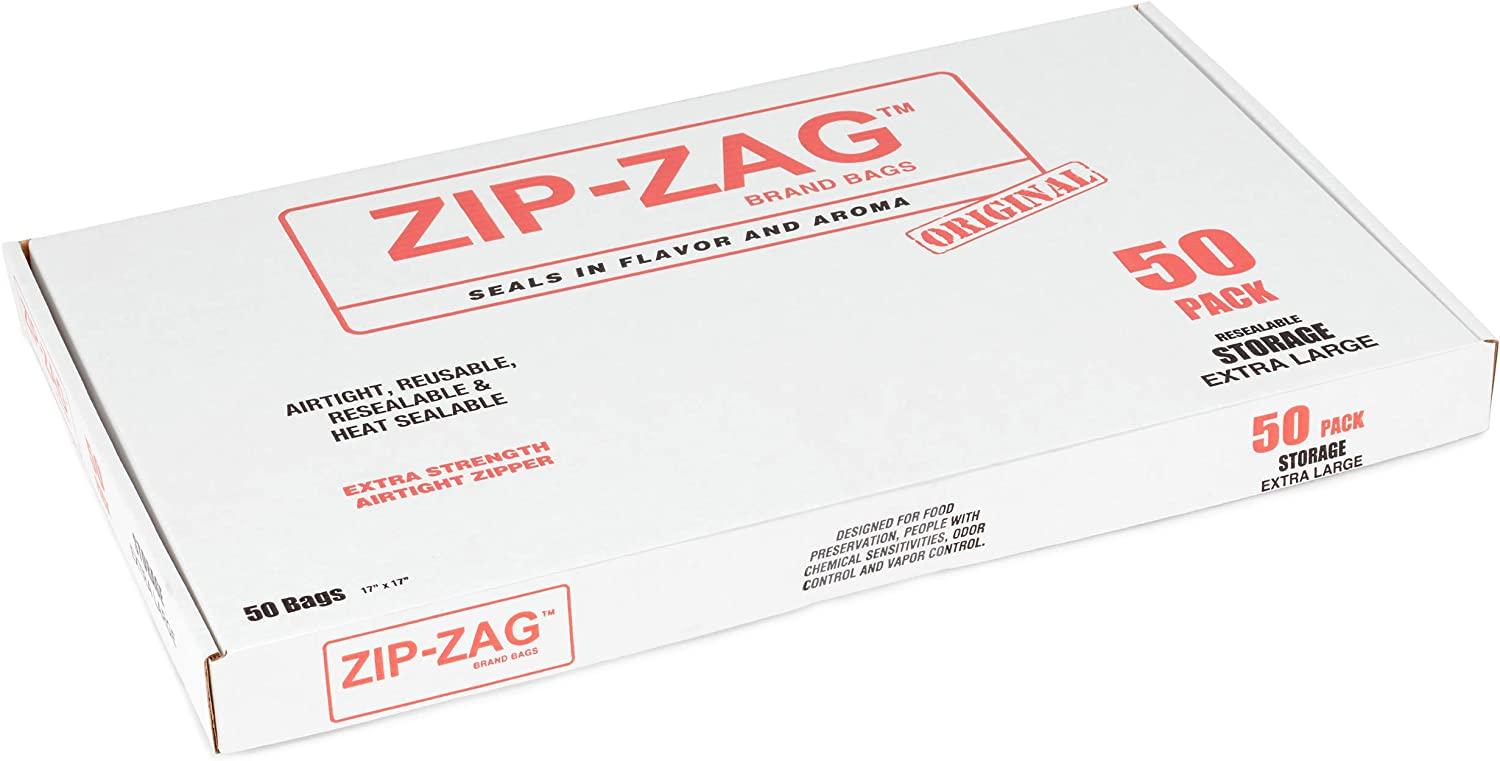Zip-Zag airtight Bags, resealable, Reusable, Smell Proof Bags, Odor Proof Baggies, Anti-Puncture, Washable, Food Safe, Treated for no Static, for Dry Herbs and Spices - 50 Bags (17x15 inches)