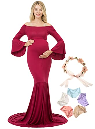 10d2b1b729b88 Sannyway Maternity Photography Dresses with Train Maxi Gown Off Shoulder  Long Sleeve (Burgundy, S