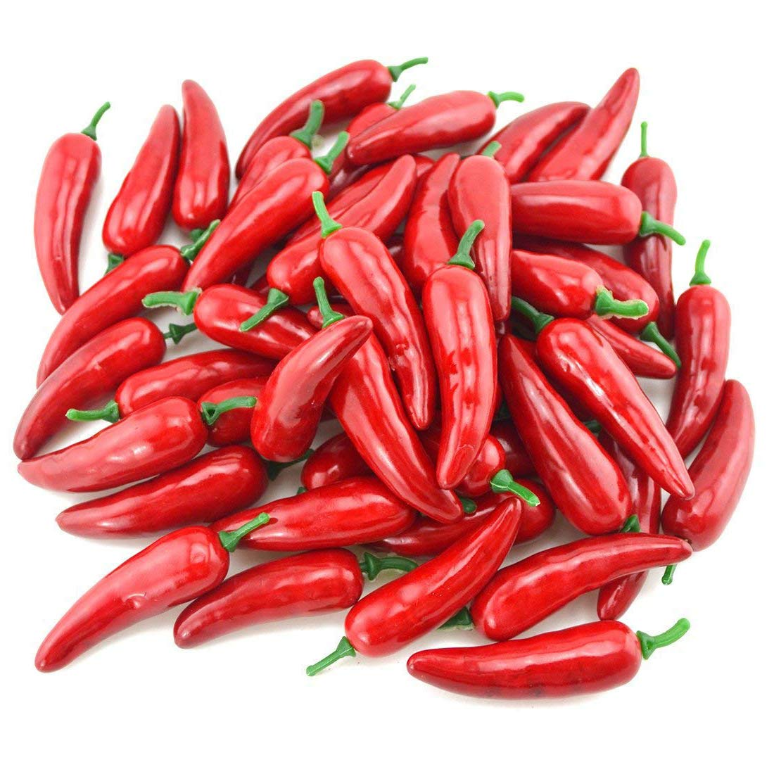 CN-Culture 50 PCS Simulation Artificial Lifelike Fake Vegetable Red Pepper Hot Chili for Home Kitchen Decoration