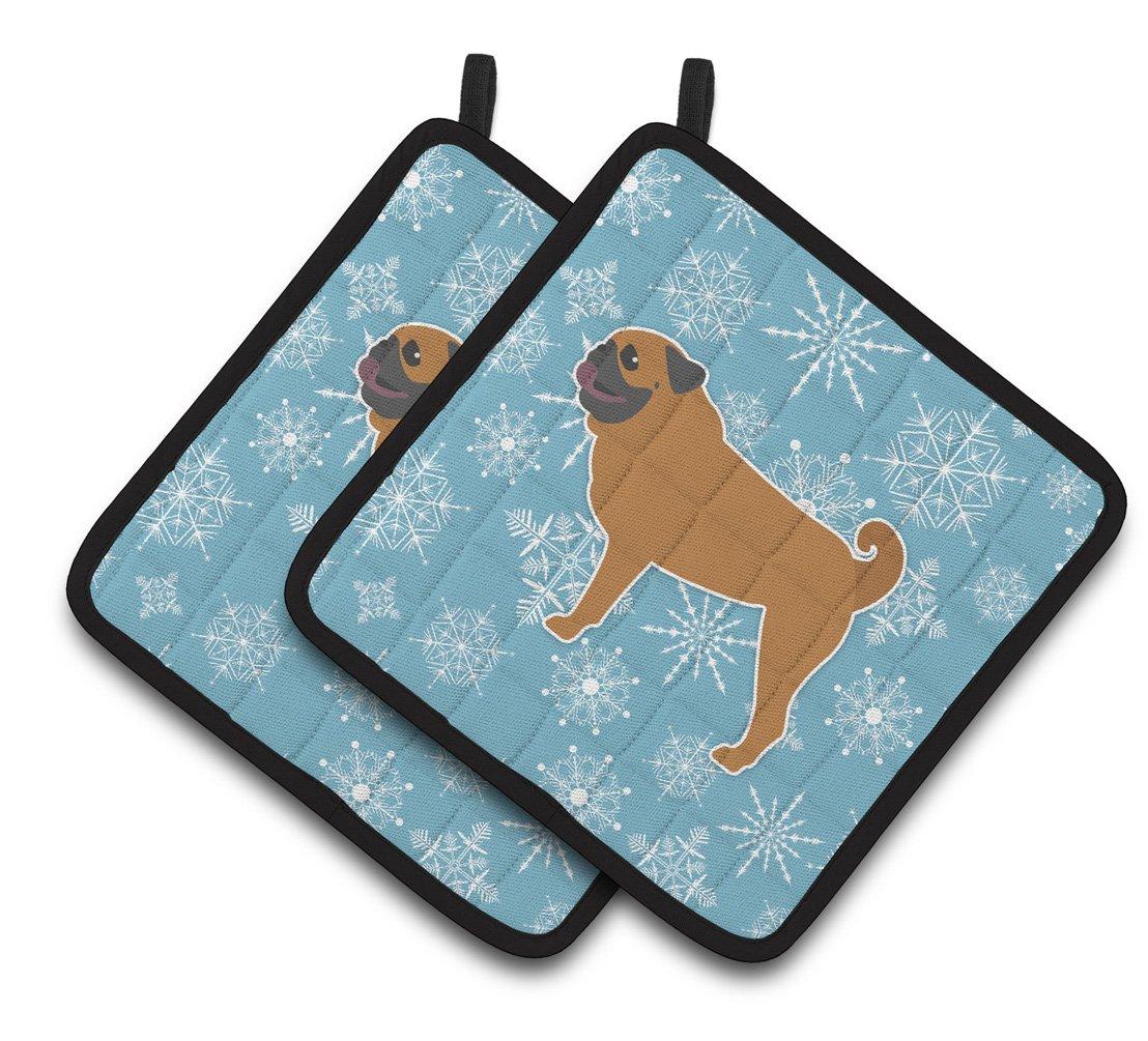 7.5HX7.5W Carolines Treasures Winter Snowflake Pug Pair of Pot Holders BB3547PTHD Multicolor