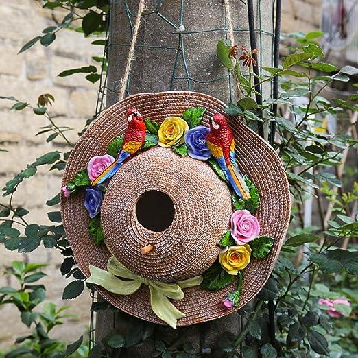 Adornos al Aire Libre para el jardín Colgante de decoración de Nido de pájaro con Sombrero de Paja@Loro Rojo pajarera pajarera: Amazon.es: Jardín