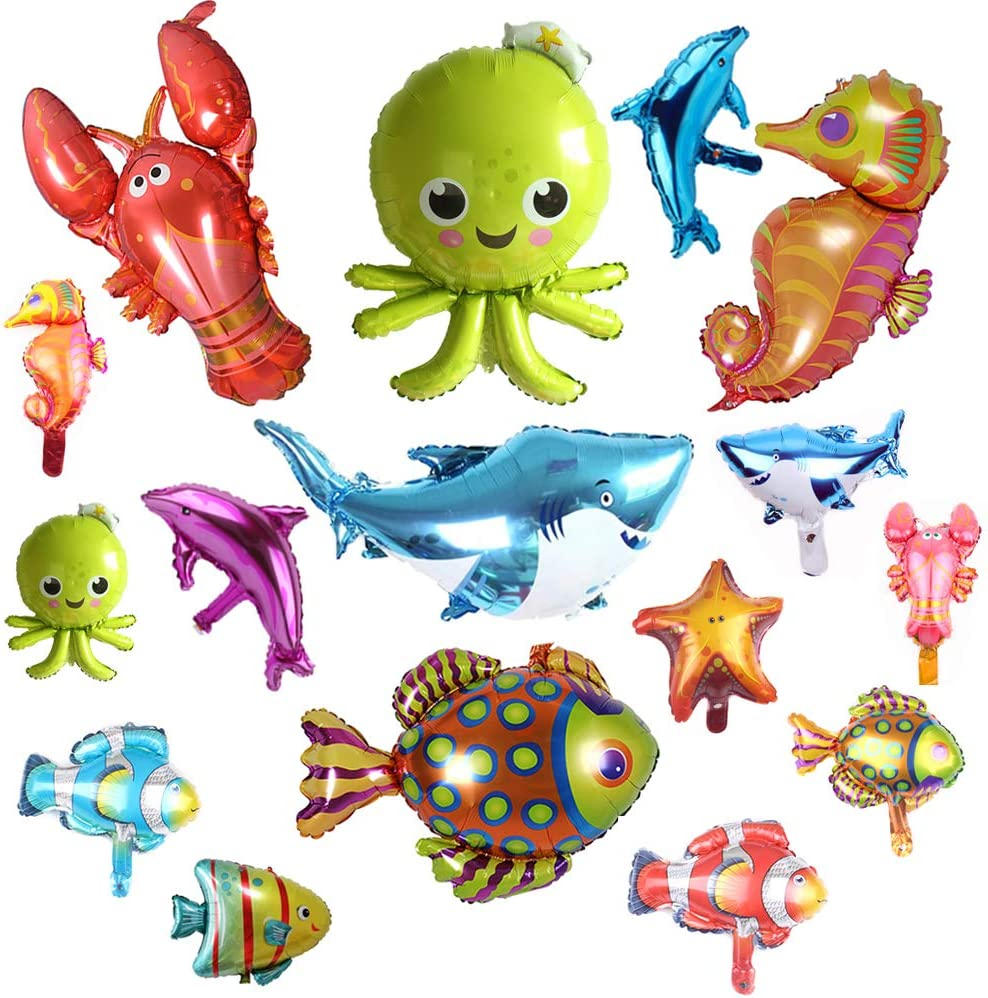Ocean Animals Foil Balloons Under the Sea Cartoon Creatures Balloon Decorations Sea Horse Octopus Lobster Shark Dolphin Tropical Fish Balloons for Wedding Festival Birthday Party Supplies 16 Pack