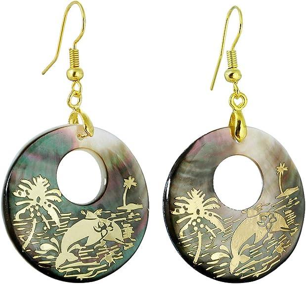Rainbow Clam Shell Niobium Dangle Earrings Drop Earrings French Hook Earrings  Mermaid Seashell Earrings