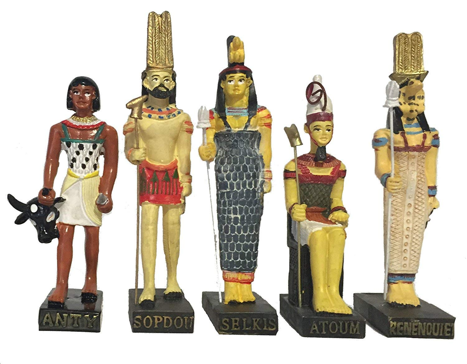 Ancient Egypt Egyptian God 11 Figurines Set Resin Statue size 5 high Anty, Atoum, Noun, Aton, Seth, Selkis, Renenoutet, Sopdou, Horus, Neffertiti, Merseger Amercom EG-8