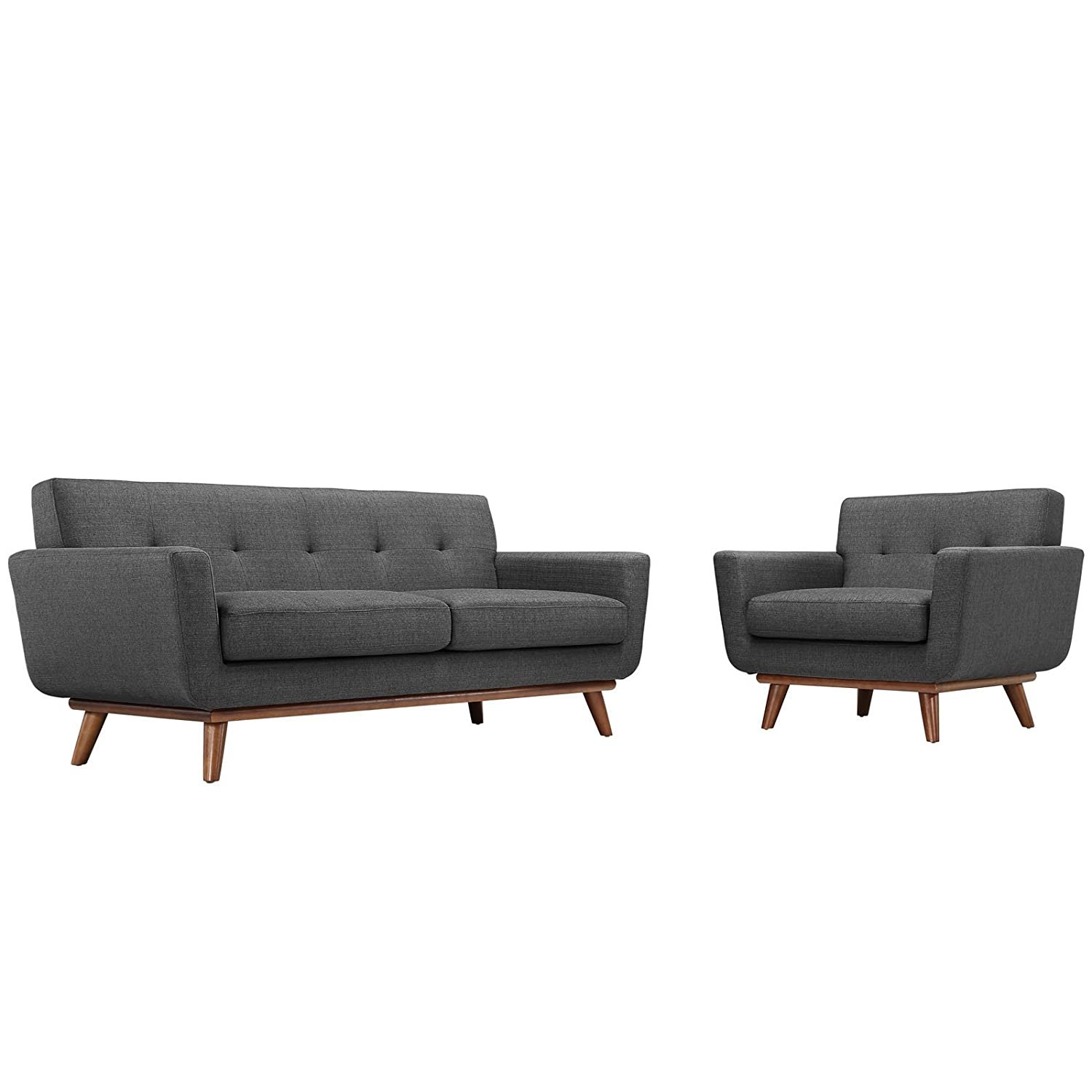 Modway Engage Armchair and Loveseat Set of 2 in Gray