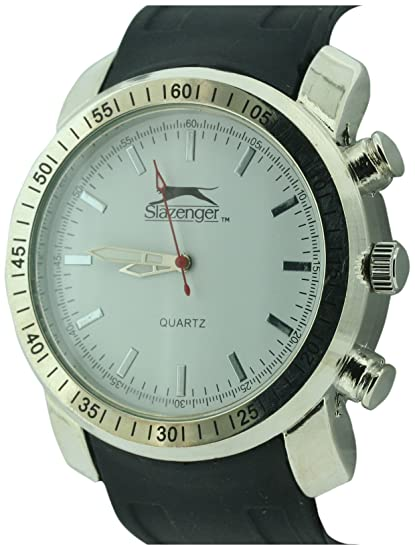SLAZENGER SLZ304/A - Reloj analógico de cuarzo para hombre, correa de silicona color negro: Amazon.es: Relojes