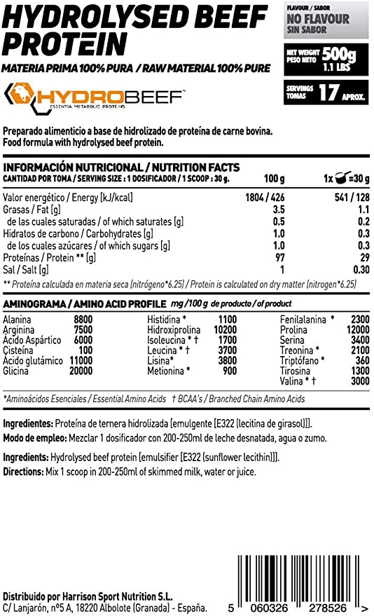 Proteína Hidrolizada de Carne Bovina de HSN Raw   Beef Protein ...