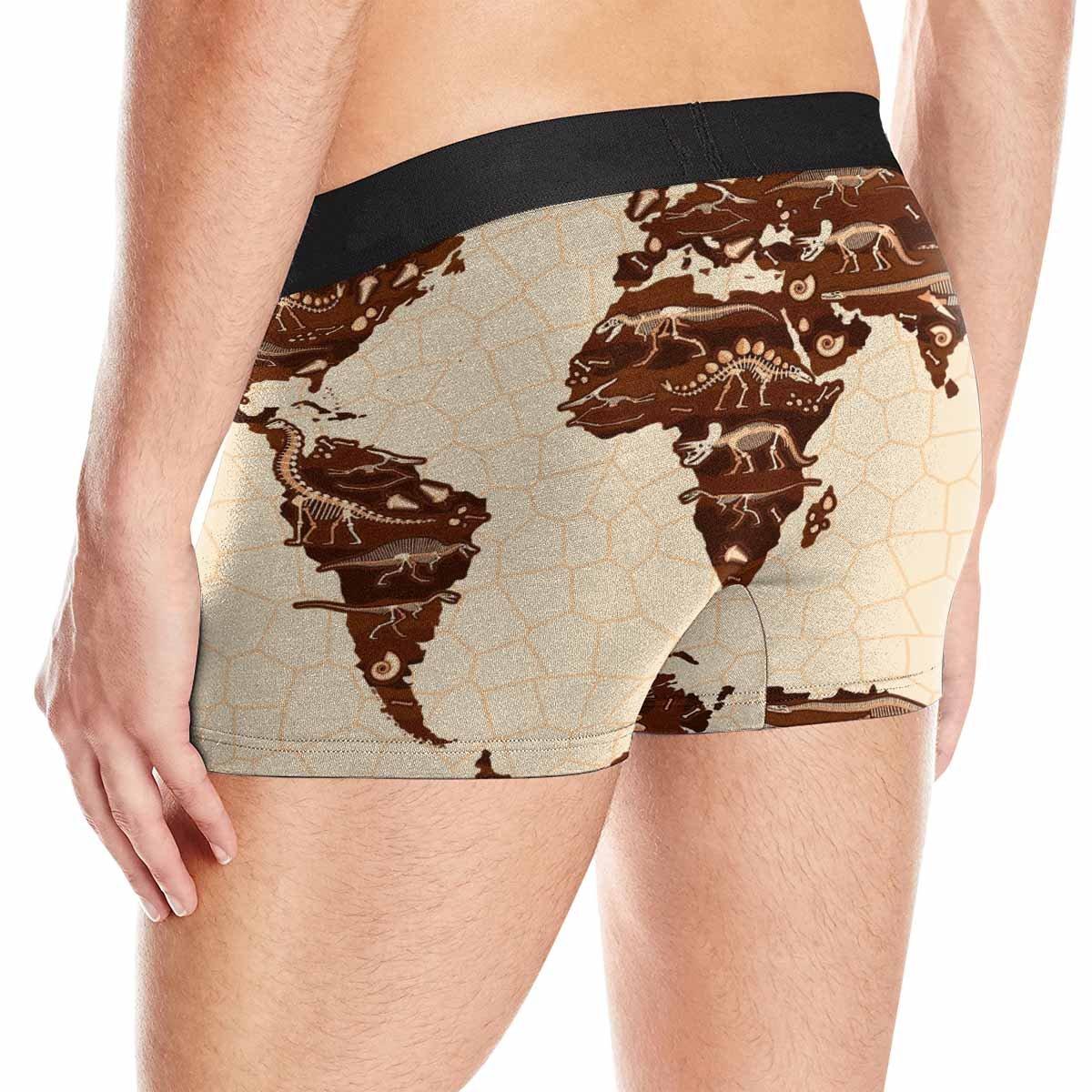 XS-3XL INTERESTPRINT Mens Boxer Briefs Underwear Cartoon World Map with Dinosaurs for Kids