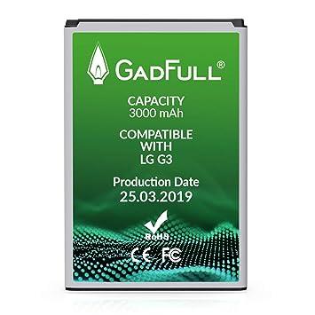 GadFull Batería de reemplazo para LG G3 | 2019 Fecha de producción | Corresponde al Original BL-53YH | Compatible con LG G3 D830 | D851 | LS990 ...