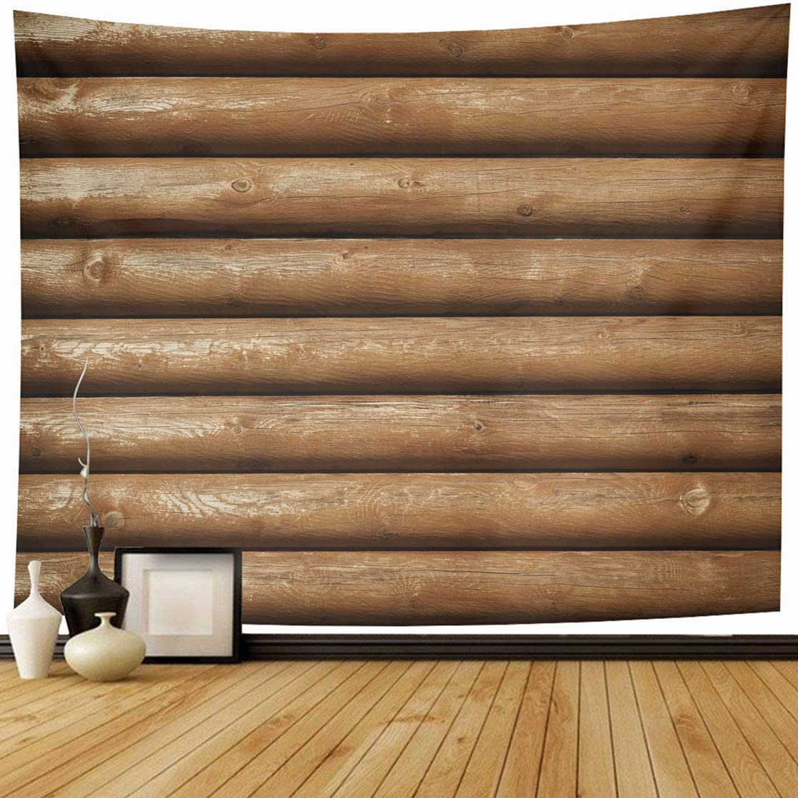 AlliuCoo Tapestry Wall Hanging 60 x 50 Inches Brown Cabin Wooden Logs Wall Orange Wood Abstract Home Wall Decor Tapestries for Bedroom Living Room Dorm