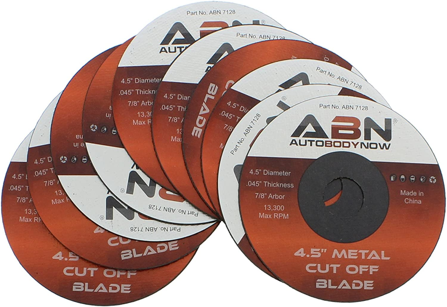 "ABN Metal Slicer Cut-off Wheel 20 Pack Type 1 4.5"" Grinder Disc ⅞"" Bore"
