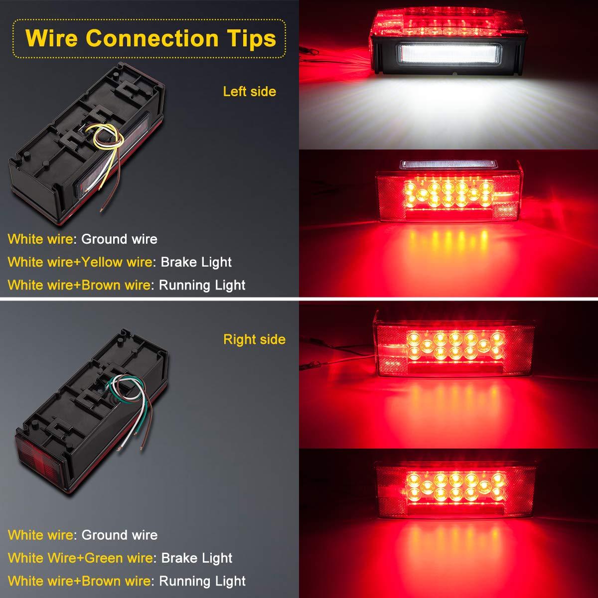 Limicar Led Trailer Lights Kit Waterproof 12v Wiring A Light Fixture Green Wire Rectangular Stop Brake Turn Running Marker With License Plate Bracket