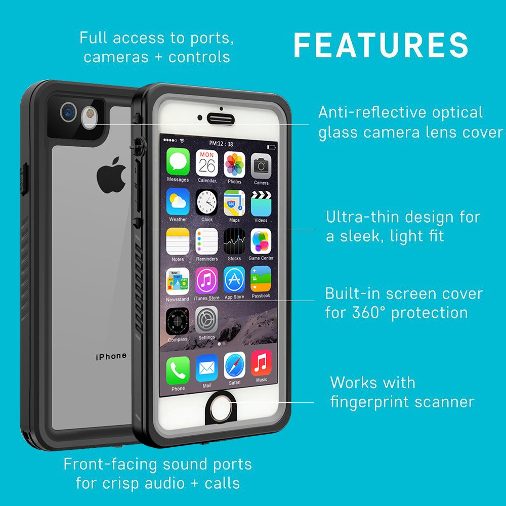 Black Re-sport Full-Body Protective Shockproof Dustproof Underwater Cover Case IP68 Certified Built-in Screen Protector for i6//i6s iPhone 6 iPhone 6s Waterproof Case