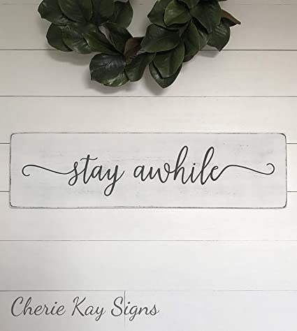Amazon Emily Stay Awhile Sign Farmhouse Decor Rustic Fixer