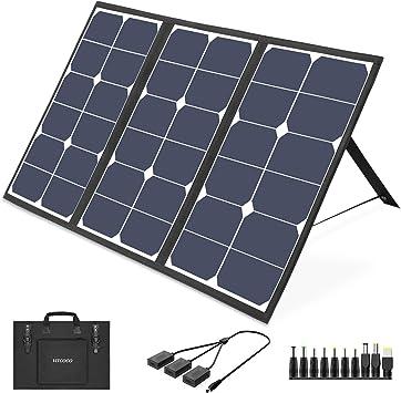 VITCOCO Cargador solar de 63 W, panel solar portátil, 3 puertos USB y 1 puerto DC para estación de alimentación, cámara, cargador solar exterior, ...