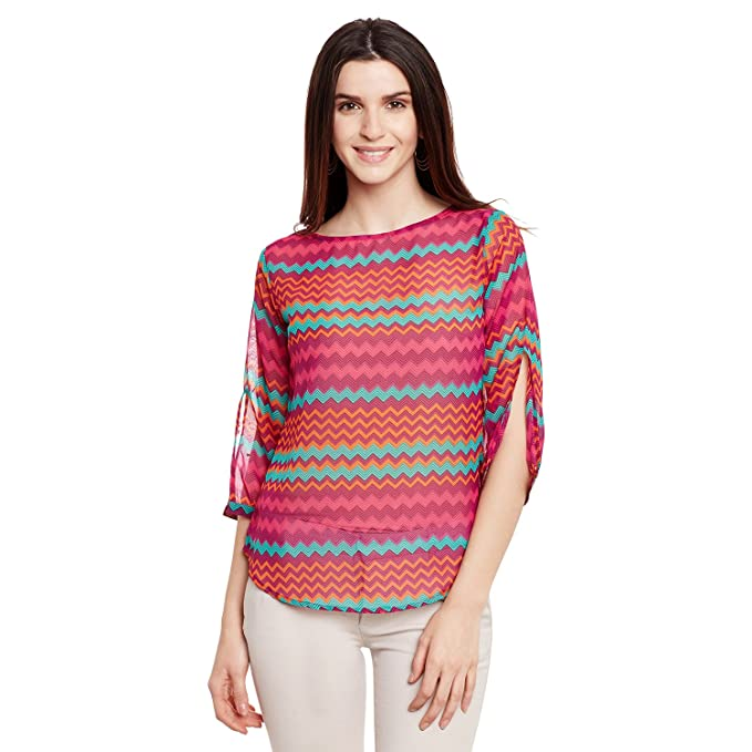 0ab09434a7d Forelevy Georgette 3 4th Sleeve Printed Women s Top  Amazon.in ...