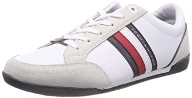 a47821f4fbda0 Tommy Hilfiger Herren Corporate Material Mix Cupsole Sneaker Weiß (White  100) 40 EU