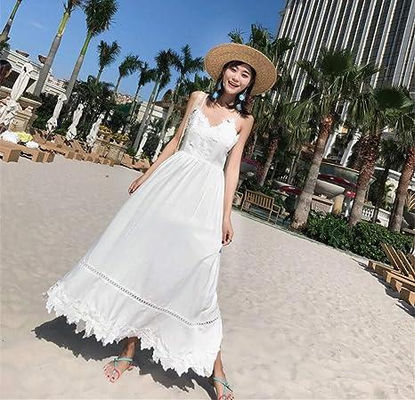 BMKWSG-LIANYIQUN Vestido de Las señoras del Verano Vestido Blanco ...