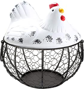Qube Eggs Basket,Eggs Storage Iron Basket with Ceramic Chicken Lid,Fruit Container Kitchen Hen Decor,Metal Wire Hen Egg Basket Container,Eggs Holder Box for Storing Fruits, Vegetables (White)