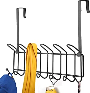 Minggoo Coat Rack Wall Mounted Hook Rack Over The Door Hook Organizer 13 Hooks, Heavy-Duty Iron Wire Black