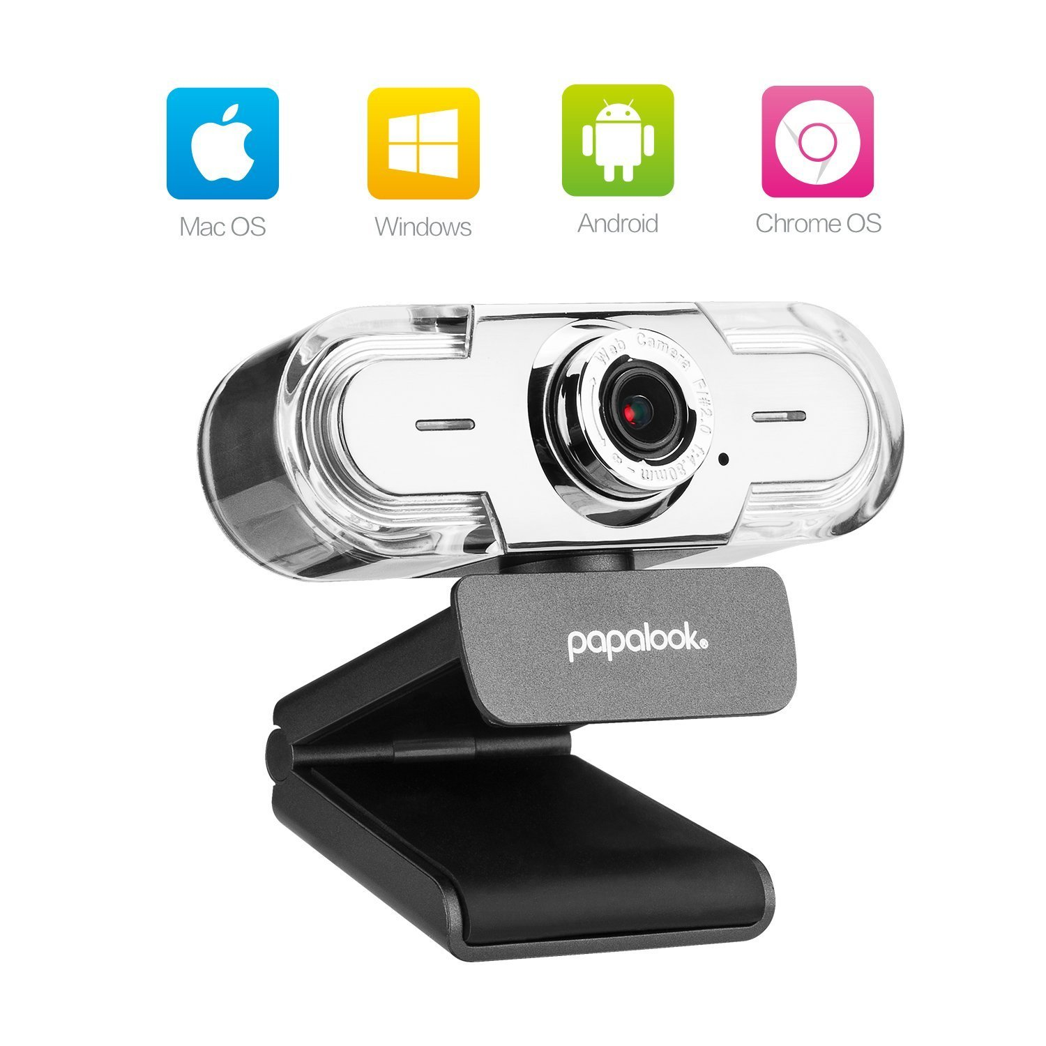 PAPALOOK 1080P HD Webcam, USB PC Computer Camera PA452 PRO Web Camera, Built-in Mic for Video Skype YouTube Compatible with Windows 7/8/10 by papalook (Image #2)