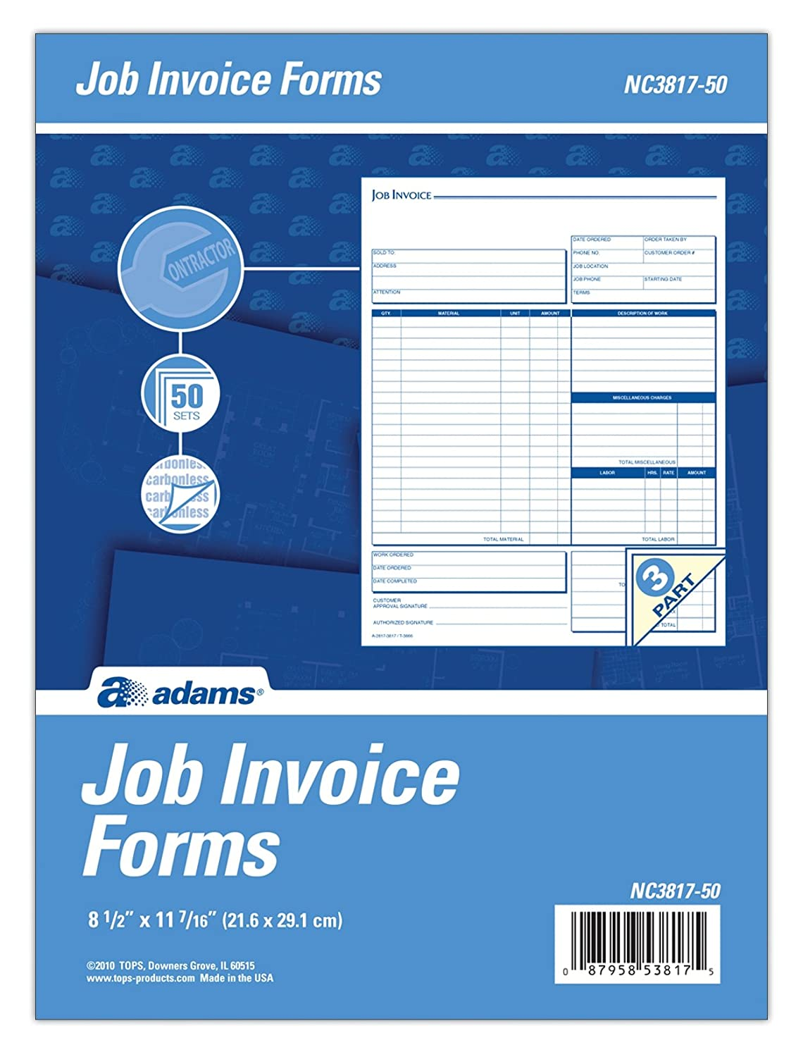 Amazon.com : Adams Job Invoice Unit Form, 3 Part, Carbonless, 8.5 X 11.44  Inches, 50 Sets Per Pack, White And Canary (NC3817 50) : Blank Receipt Forms  ...  Job Invoice Forms