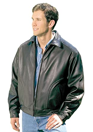 b02d8c5df0cf REED Men's All American Bomber Leather Jacket Union Made in USA at Amazon  Men's Clothing store: