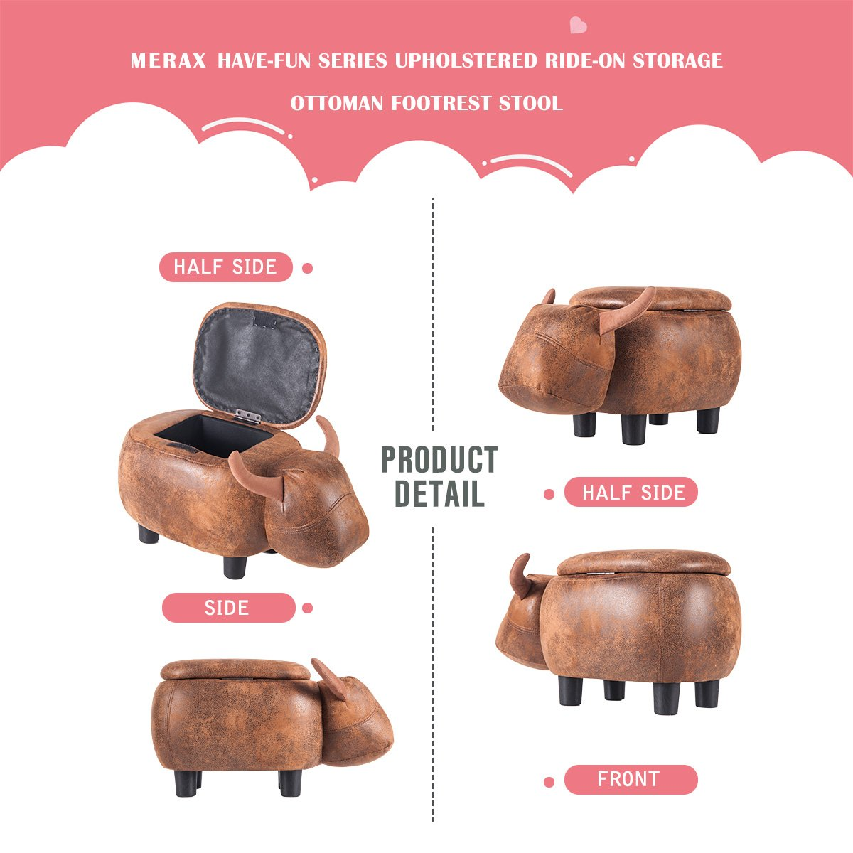 Merax Have-Fun Series Upholstered Ride-on Storage Ottoman Footrest Stool with Vivid Adorable Animal Shape (Brown Buffalo) by Merax (Image #3)