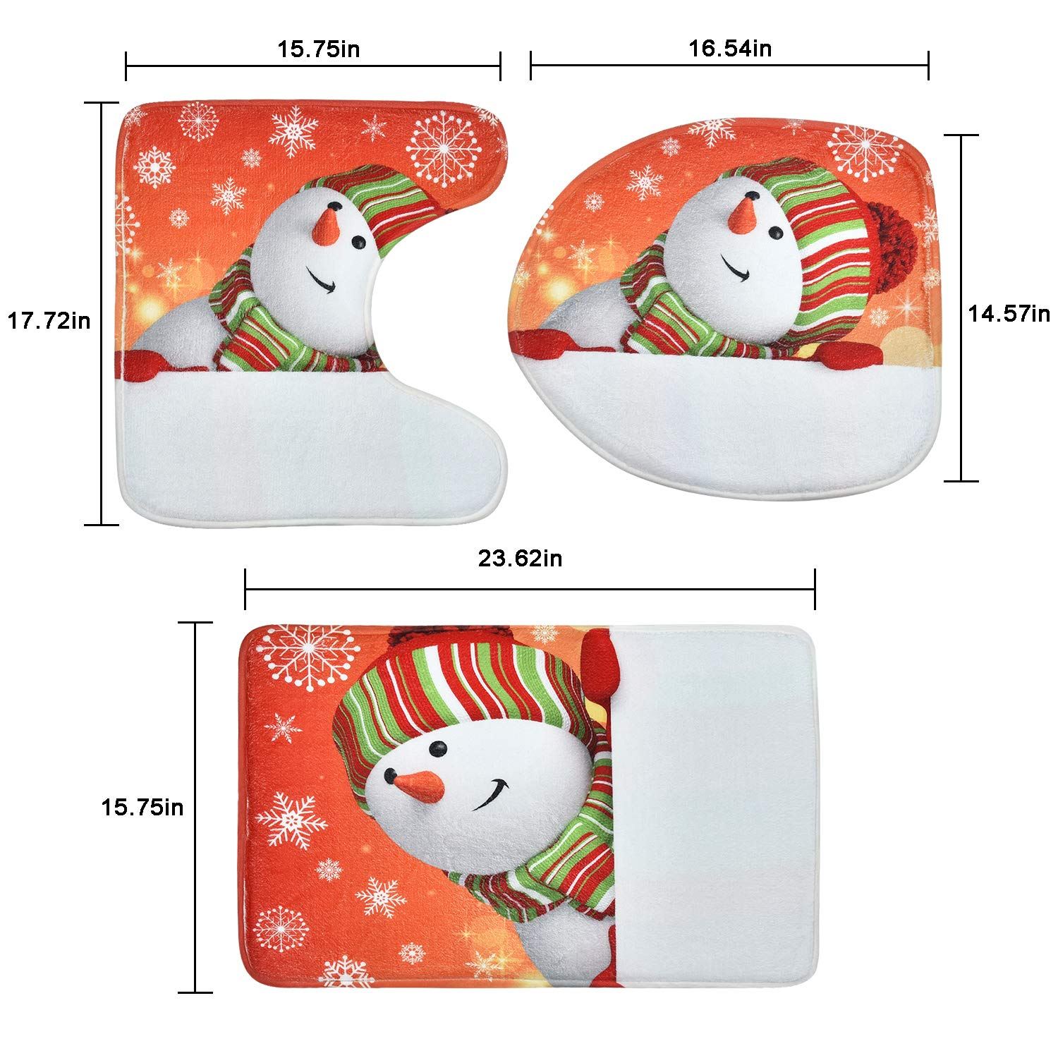 Toilet Lid Cover Bath Mat and 12 Hooks Snowman Snowflake Shower Curtain for Christmas Decoration Claswcalor 4 Pcs Merry Christmas Shower Curtain Sets with Non-Slip Rugs
